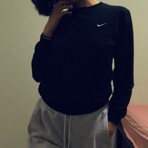 Nike Black Crewneck Sweatshirt White Logo Womens